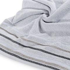 Ręcznik z bawełny z kolorowymi paskami w jodełkę 70x140cm popielaty - 70 X 140 cm - srebrny 5