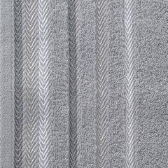 Ręcznik z bawełny z kolorowymi paskami w jodełkę 50x90cm szary - 50 X 90 cm - stalowy 10