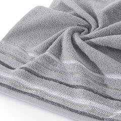 Ręcznik z bawełny z kolorowymi paskami w jodełkę 50x90cm szary - 50 X 90 cm - stalowy 2