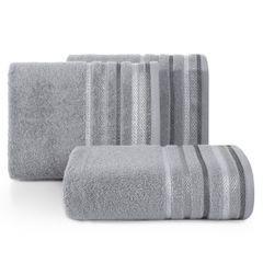 Ręcznik z bawełny z kolorowymi paskami w jodełkę 70x140cm szary - 70 X 140 cm - stalowy 1
