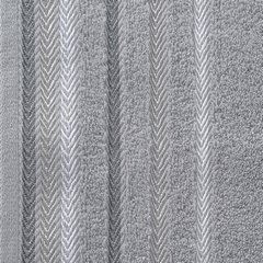 Ręcznik z bawełny z kolorowymi paskami w jodełkę 70x140cm szary - 70 X 140 cm - stalowy 10