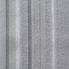Ręcznik z bawełny z kolorowymi paskami w jodełkę 70x140cm szary - 70 X 140 cm - stalowy 4