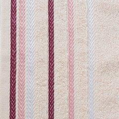 Ręcznik z bawełny z kolorowymi paskami w jodełkę 50x90cm jasnoróżowy - 50 X 90 cm - różowy 3