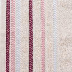 Ręcznik z bawełny z kolorowymi paskami w jodełkę 50x90cm jasnoróżowy - 50 X 90 cm - różowy 4