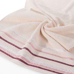 Ręcznik z bawełny z kolorowymi paskami w jodełkę 50x90cm jasnoróżowy - 50 X 90 cm - różowy 2