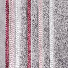 Ręcznik z bawełny z kolorowymi paskami w jodełkę 50x90cm wrzosowy - 50 X 90 cm - liliowy 4