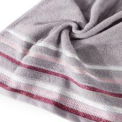 Ręcznik z bawełny z kolorowymi paskami w jodełkę 50x90cm wrzosowy - 50 X 90 cm - liliowy 5