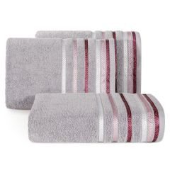 Ręcznik z bawełny z kolorowymi paskami w jodełkę 70x140 wrzosowy - 70 X 140 cm - liliowy 1