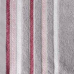 Ręcznik z bawełny z kolorowymi paskami w jodełkę 70x140 wrzosowy - 70 X 140 cm - liliowy 10