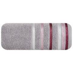 Ręcznik z bawełny z kolorowymi paskami w jodełkę 70x140 wrzosowy - 70 X 140 cm - liliowy 2