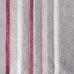 Ręcznik z bawełny z kolorowymi paskami w jodełkę 70x140 wrzosowy - 70 X 140 cm - liliowy 4
