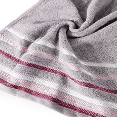 Ręcznik z bawełny z kolorowymi paskami w jodełkę 70x140 wrzosowy - 70 X 140 cm - liliowy 5