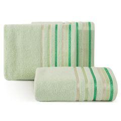 Ręcznik z bawełny z kolorowymi paskami w jodełkę 50x90cm jasnozielony - 50 X 90 cm - zielony 1
