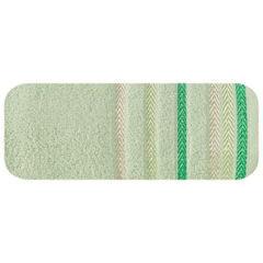 Ręcznik z bawełny z kolorowymi paskami w jodełkę 50x90cm jasnozielony - 50 X 90 cm - zielony 2