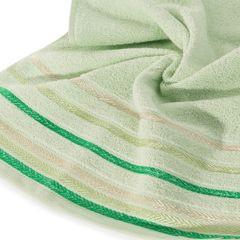Ręcznik z bawełny z kolorowymi paskami w jodełkę 70x140cm jasnozielony - 70 X 140 cm - zielony 2