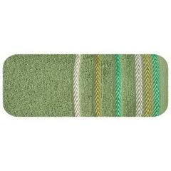 Ręcznik z bawełny z kolorowymi paskami w jodełkę 50x90cm zielony - 50 X 90 cm - zielony 2