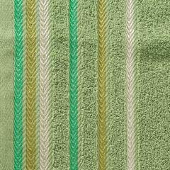 Ręcznik z bawełny z kolorowymi paskami w jodełkę 50x90cm zielony - 50 X 90 cm - zielony 4