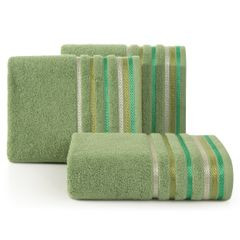 Ręcznik z bawełny z kolorowymi paskami w jodełkę 70x140cm zielony - 70 X 140 cm - zielony 1