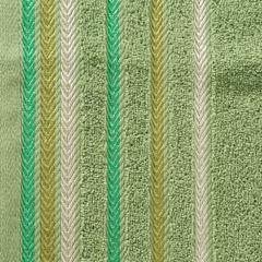 Ręcznik z bawełny z kolorowymi paskami w jodełkę 70x140cm zielony - 70 X 140 cm - zielony 9