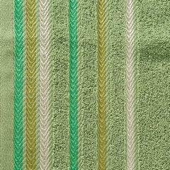 Ręcznik z bawełny z kolorowymi paskami w jodełkę 70x140cm zielony - 70 X 140 cm - zielony 10