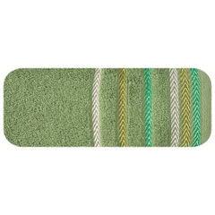 Ręcznik z bawełny z kolorowymi paskami w jodełkę 70x140cm zielony - 70 X 140 cm - zielony 2