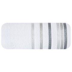 Ręcznik z bawełny z kolorowymi paskami w jodełkę 50x90cm biały - 50 X 90 cm - biały 2