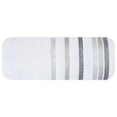 Ręcznik z bawełny z kolorowymi paskami w jodełkę 70x140cm biały - 70 X 140 cm - biały 2