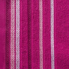 Ręcznik z bawełny z kolorowymi paskami w jodełkę 70x140cm amarantowy - 70 X 140 cm - amarantowy 9