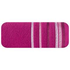 Ręcznik z bawełny z kolorowymi paskami w jodełkę 70x140cm amarantowy - 70 X 140 cm - amarantowy 2
