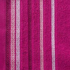Ręcznik z bawełny z kolorowymi paskami w jodełkę 70x140cm amarantowy - 70 X 140 cm - amarantowy 4