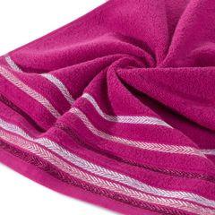 Ręcznik z bawełny z kolorowymi paskami w jodełkę 70x140cm amarantowy - 70 X 140 cm - amarantowy 5