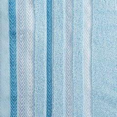 Ręcznik z bawełny z kolorowymi paskami w jodełkę 50x90cm niebieski - 50 X 90 cm - niebieski 10