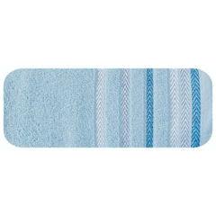 Ręcznik z bawełny z kolorowymi paskami w jodełkę 50x90cm niebieski - 50 X 90 cm - niebieski 2