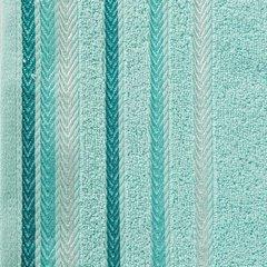 Ręcznik z bawełny z kolorowymi paskami w jodełkę 50x90cm turkusowy - 50 X 90 cm - turkusowy 10