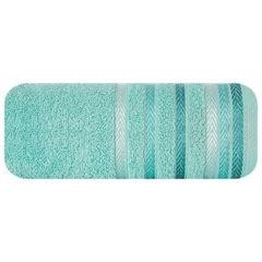 Ręcznik z bawełny z kolorowymi paskami w jodełkę 50x90cm turkusowy - 50 X 90 cm - turkusowy 2