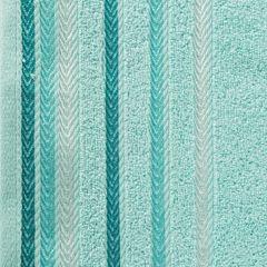 Ręcznik z bawełny z kolorowymi paskami w jodełkę 50x90cm turkusowy - 50 X 90 cm - turkusowy 4