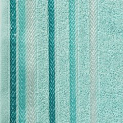 Ręcznik z bawełny z kolorowymi paskami w jodełkę 70x140cm turkusowy - 70 X 140 cm - turkusowy 10