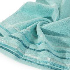 Ręcznik z bawełny z kolorowymi paskami w jodełkę 70x140cm turkusowy - 70 X 140 cm - turkusowy 5