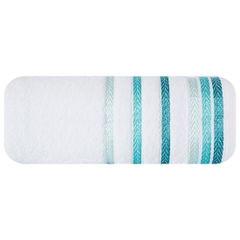 Ręcznik z bawełny z kolorowymi paskami w jodełkę 50x90cm biały+turkusowy - 50 X 90 cm - biały 2
