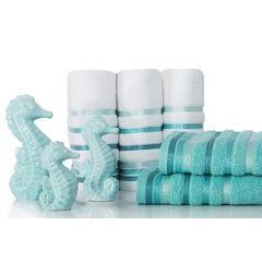 Ręcznik z bawełny z kolorowymi paskami w jodełkę 50x90cm biały+turkusowy - 50 X 90 cm - biały 6