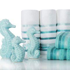 Ręcznik z bawełny z kolorowymi paskami w jodełkę 50x90cm biały+turkusowy - 50 X 90 cm - biały 7