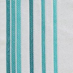 Ręcznik z bawełny z kolorowymi paskami w jodełkę 70x140cm biały+turkusowy - 70 X 140 cm - biały 10