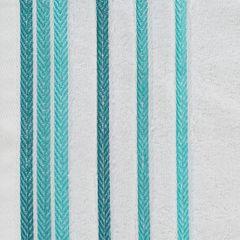 Ręcznik z bawełny z kolorowymi paskami w jodełkę 70x140cm biały+turkusowy - 70 X 140 cm - biały 4