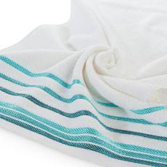 Ręcznik z bawełny z kolorowymi paskami w jodełkę 70x140cm biały+turkusowy - 70 X 140 cm - biały 5