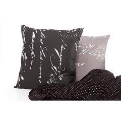 Poszewka na poduszkę 45 x 45 cm szara ze srebrnym napisem  - 45x45 - szary 2