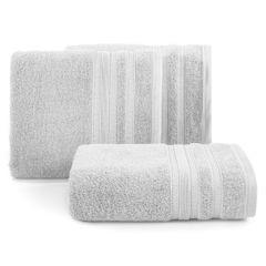 Ręcznik z bawełny zdobiony błyszczącą nitką 70x140cm popielaty - 70 X 140 cm - srebrny 1