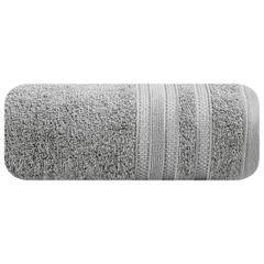 Ręcznik z bawełny zdobiony błyszczącą nitką 50x90cm szary - 50 X 90 cm - stalowy 2