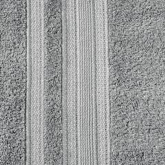 Ręcznik z bawełny zdobiony błyszczącą nitką 70x140cm szary - 70 X 140 cm - stalowy 7