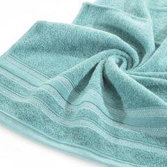 Ręcznik z bawełny zdobiony błyszczącą nitką 50x90cm turkusowy - 50 X 90 cm - turkusowy 5