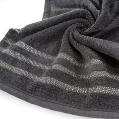 Ręcznik z bawełny zdobiony błyszczącą nitką 70x140cm czarny - 70 X 140 cm - czarny 7